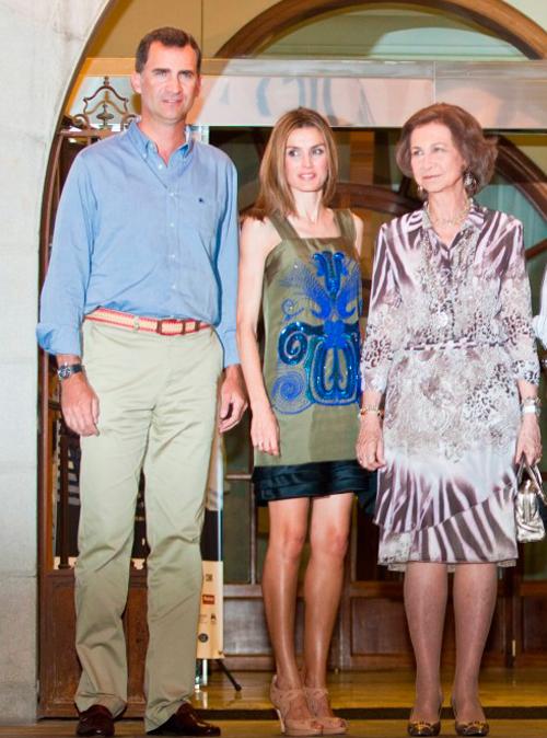 Letizia, este verano, con vestido de Hoss Intropia