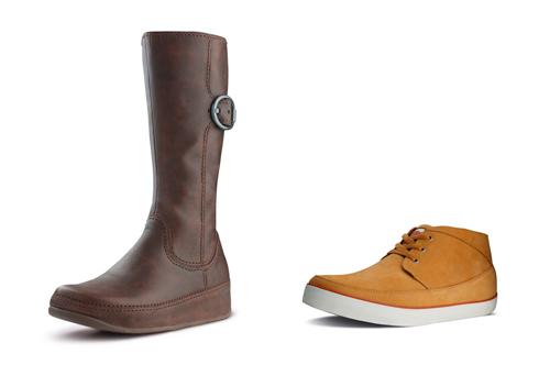Imagen cortesía de FitFlop (bota de mujer y zapato de hombre)