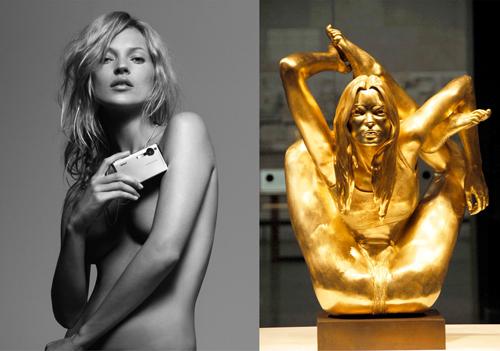 Kate Moss y su famosa escultura en oro de 18 kilates