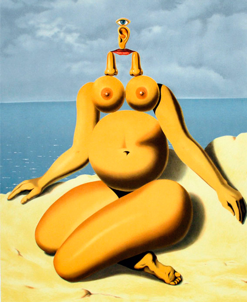 Cuadro cubista de Rene Magritte de una mujer desnuda
