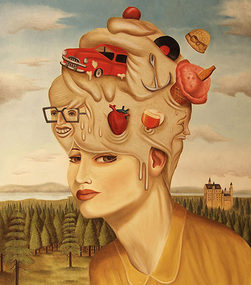 Cuadro de Rafael Silveira de una mujer con cosas en la cabeza
