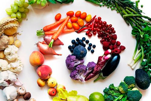 Espiral de frutas y verduras