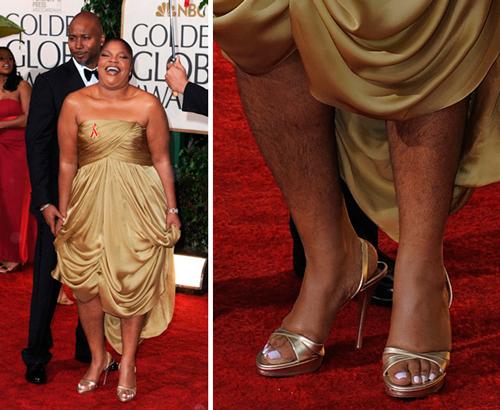 Las piernas de la actriz Mo'nique sin depilar