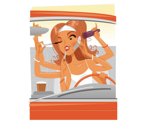Dibujo de una mujer maquillándose al volante