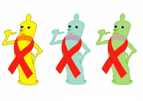 Dibujo de preservativos con el lazo rojo símbolo de la lucha contra el SIDA