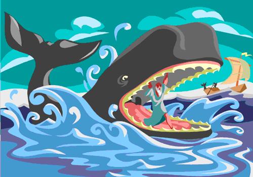 Ilustración de Jonás saliendo de la ballena