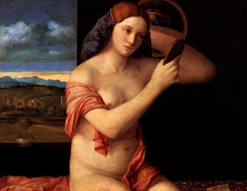 """Giovanni Bellini, """"Mujer joven con espejo"""""""