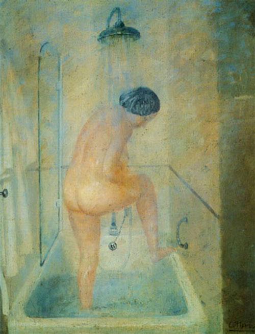 mujer duchandose