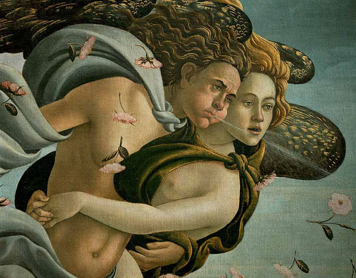 Detalle de El Nacimiento de Venus, Boticelli
