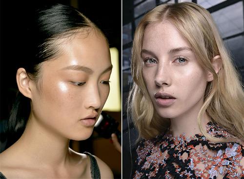 Efecto piel jugosa en mejillas y párpados. Prabal Gurung y Mary Katrantzou primavera-verano 2015