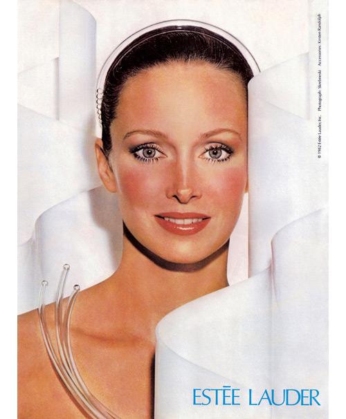 Karen Graham para Estée Lauder en una campaña de 1982