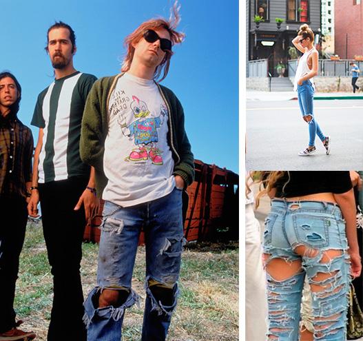 Kurt Cobain flanqueado por Novoselic y Grohl y gente de Instagram