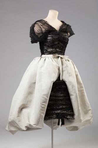 Vestido de chantilly negro de-Balenciaga