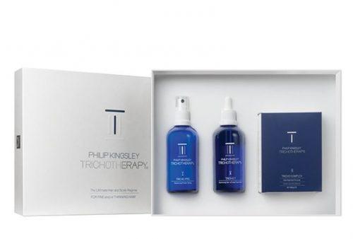 El sistema Trichotherapy de Philip Kingsley incluye un tratamiento interno y un tratamiento externo de los factores causantes de la caída del pelo.